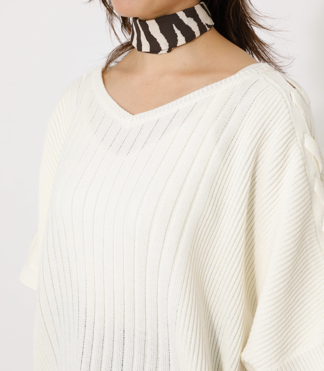 2WAY SHOULDER LACE-UP KNIT/2WAYショルダーレースアップニット 詳細画像 O/WHT 7