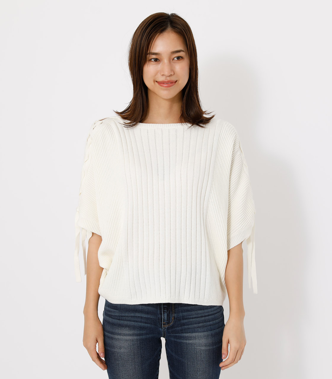 2WAY SHOULDER LACE-UP KNIT/2WAYショルダーレースアップニット 詳細画像 O/WHT 9