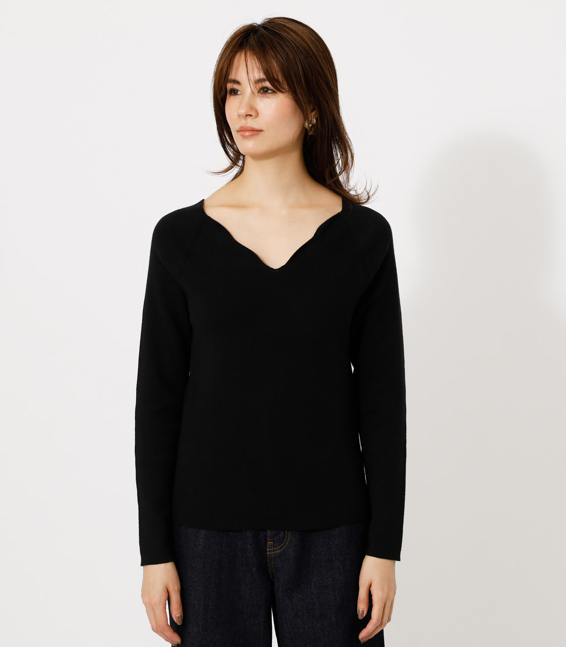 SCALLOP KNIT TOPS/スカルプニットトップス 詳細画像 BLK 4