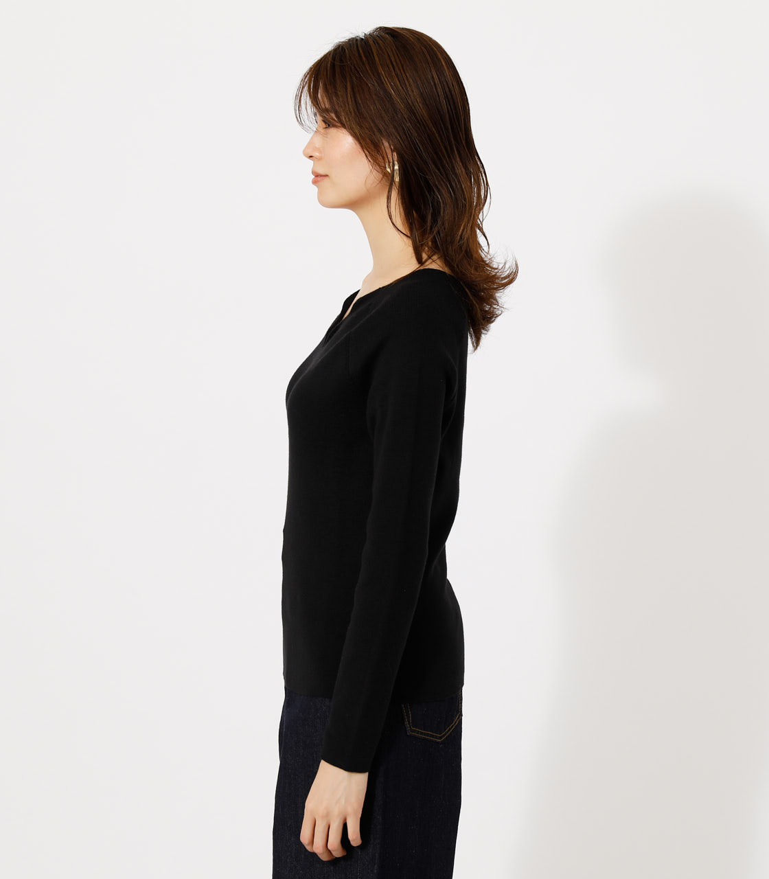 SCALLOP KNIT TOPS/スカルプニットトップス 詳細画像 BLK 5
