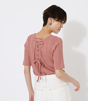 BACK LACE UP TOPS/バックレースアップトップス