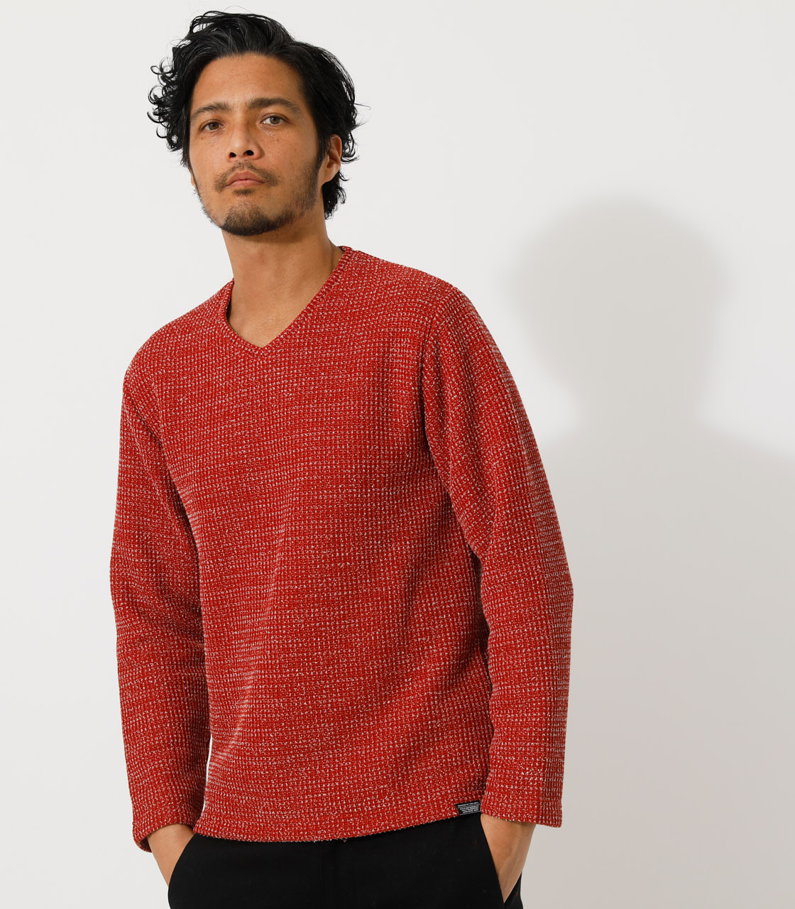 BRUSHED WAFFLE V/N LONG TEE/ブラッシュドワッフルVネックロングTシャツ 詳細画像 柄RED 1