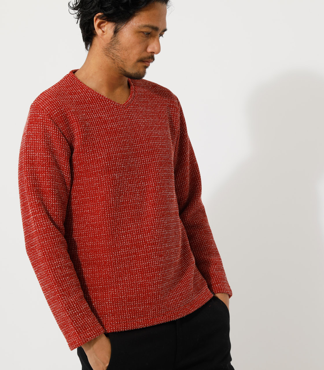 BRUSHED WAFFLE V/N LONG TEE/ブラッシュドワッフルVネックロングTシャツ 詳細画像 柄RED 2