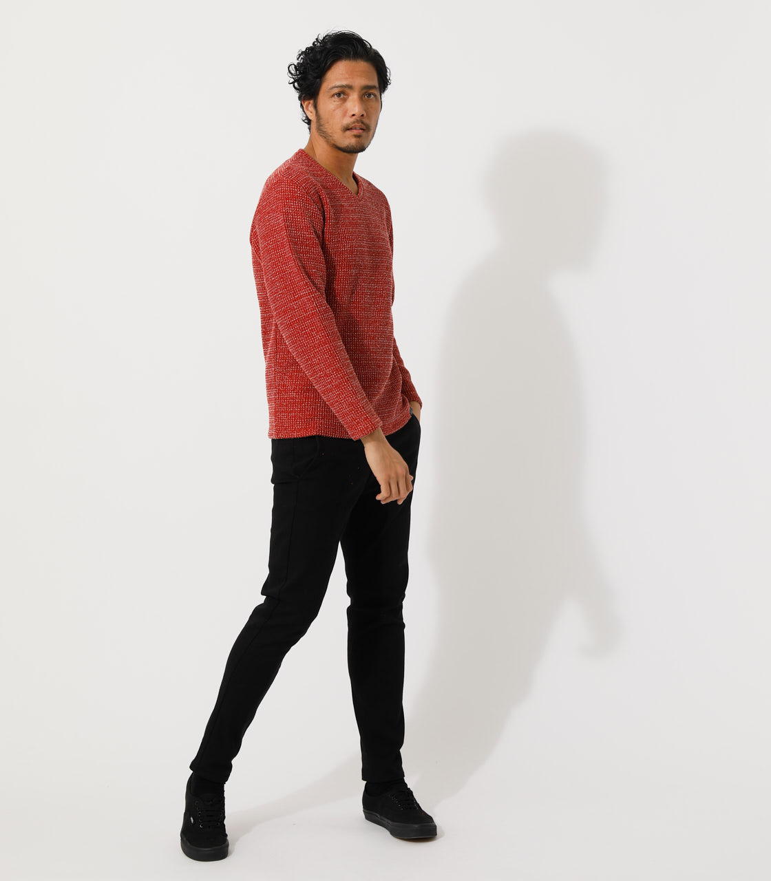 BRUSHED WAFFLE V/N LONG TEE/ブラッシュドワッフルVネックロングTシャツ 詳細画像 柄RED 3