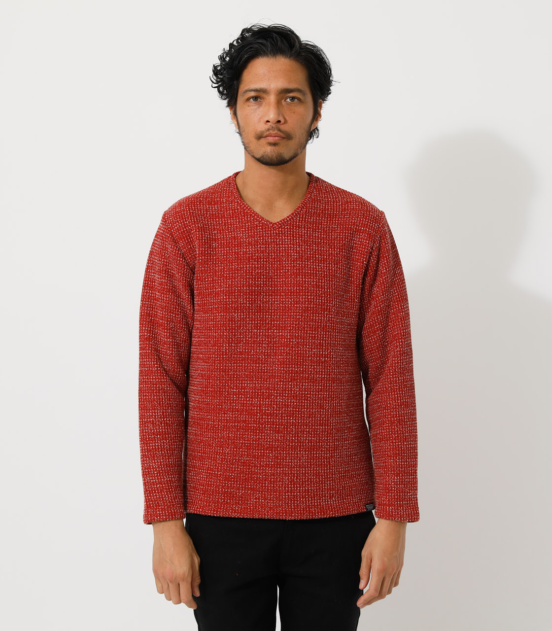 BRUSHED WAFFLE V/N LONG TEE/ブラッシュドワッフルVネックロングTシャツ 詳細画像 柄RED 4