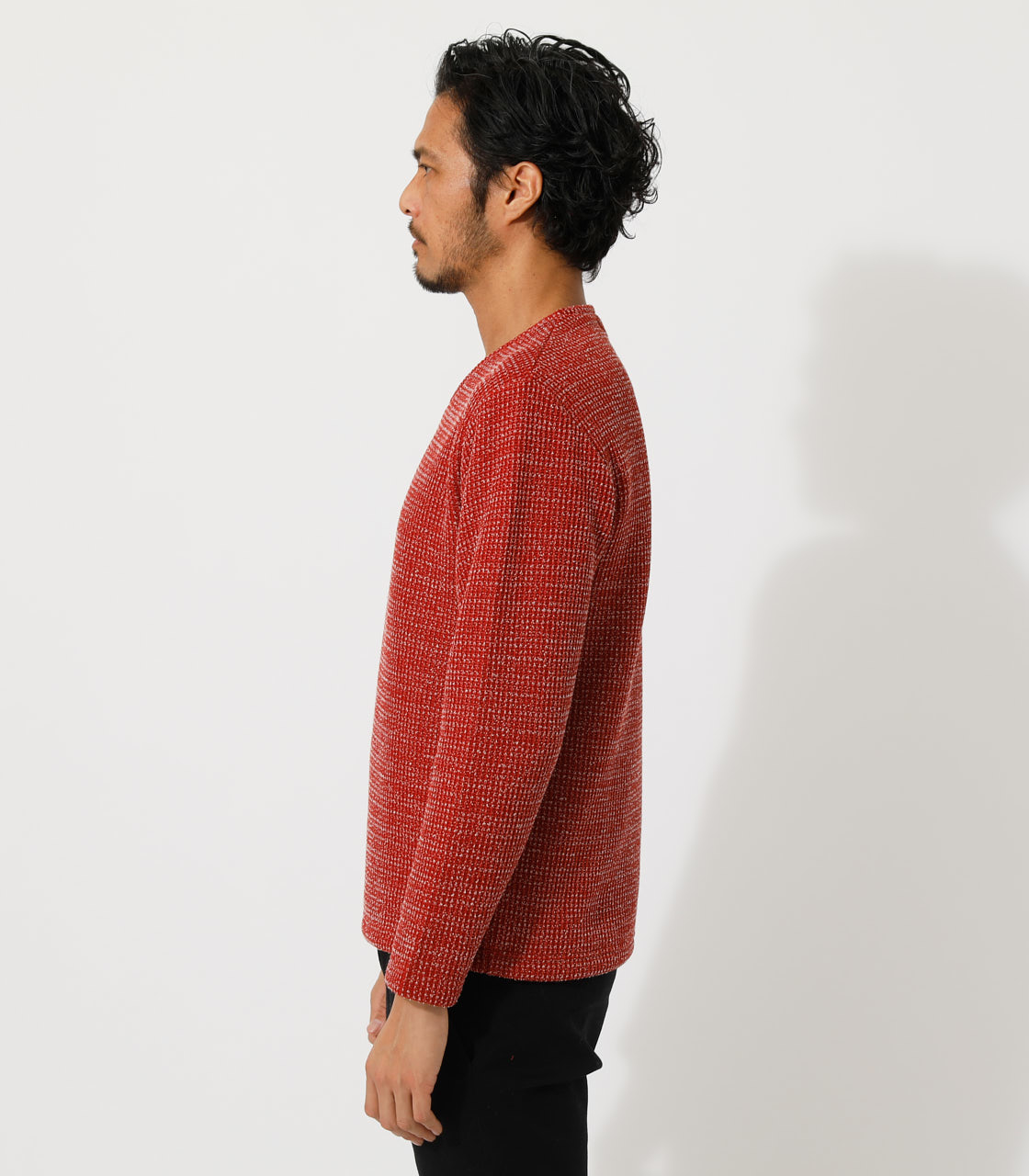 BRUSHED WAFFLE V/N LONG TEE/ブラッシュドワッフルVネックロングTシャツ 詳細画像 柄RED 5