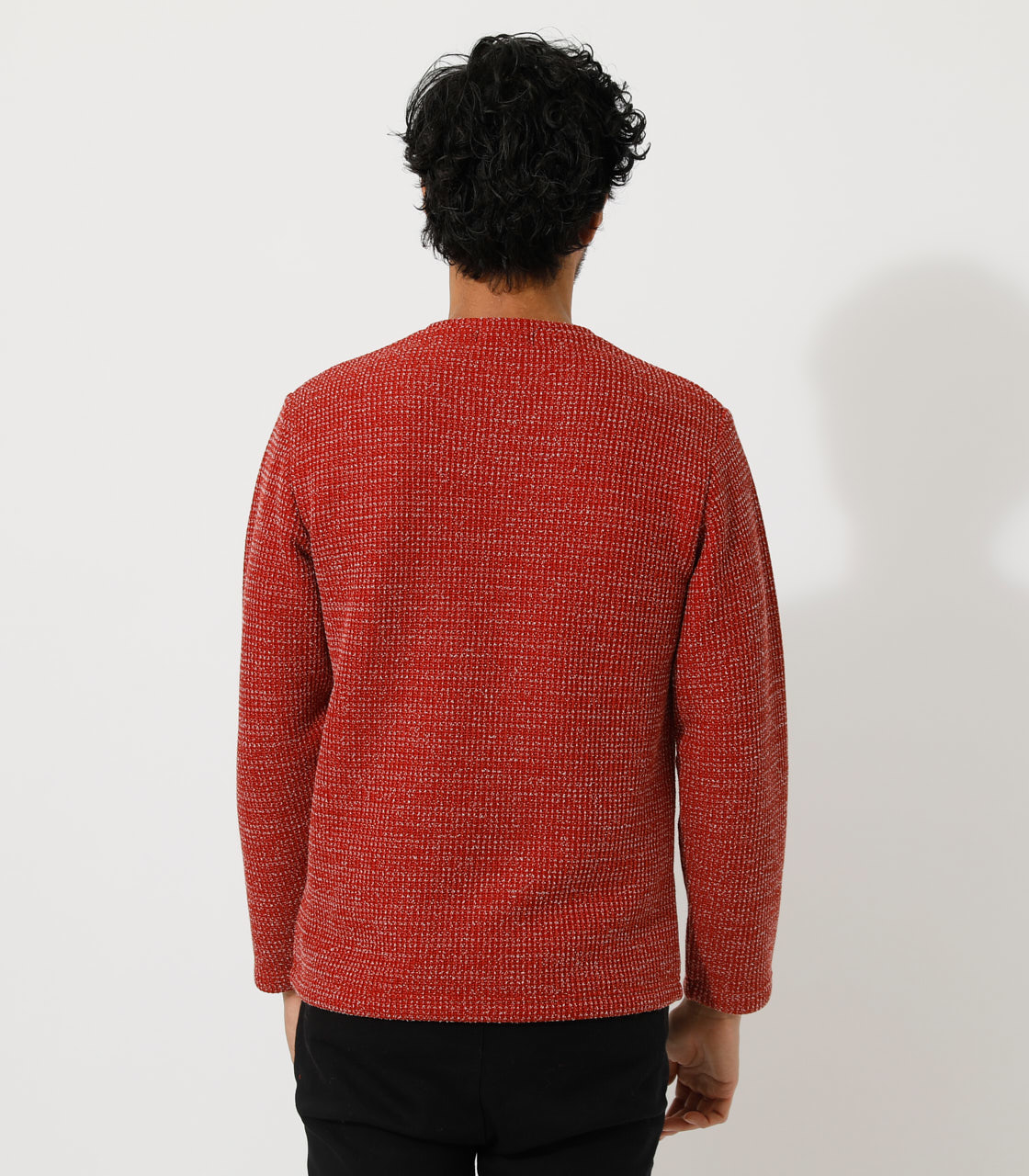 BRUSHED WAFFLE V/N LONG TEE/ブラッシュドワッフルVネックロングTシャツ 詳細画像 柄RED 6