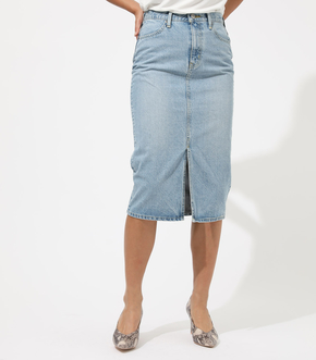 CENTER SLIT DENIM MIDI SKIRT