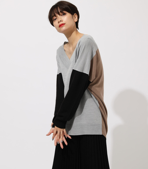 NUDIE V/N LOOSE KNIT TOPS/ヌーディーVネックルーズニットトップス