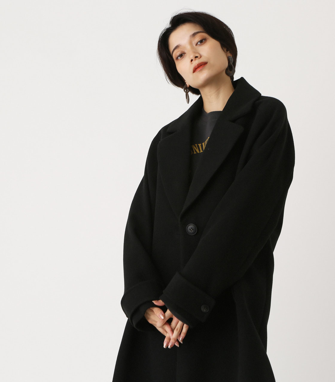 OVER LOOSE CHESTER COAT/オーバールーズチェスターコート 詳細画像 BLK 3