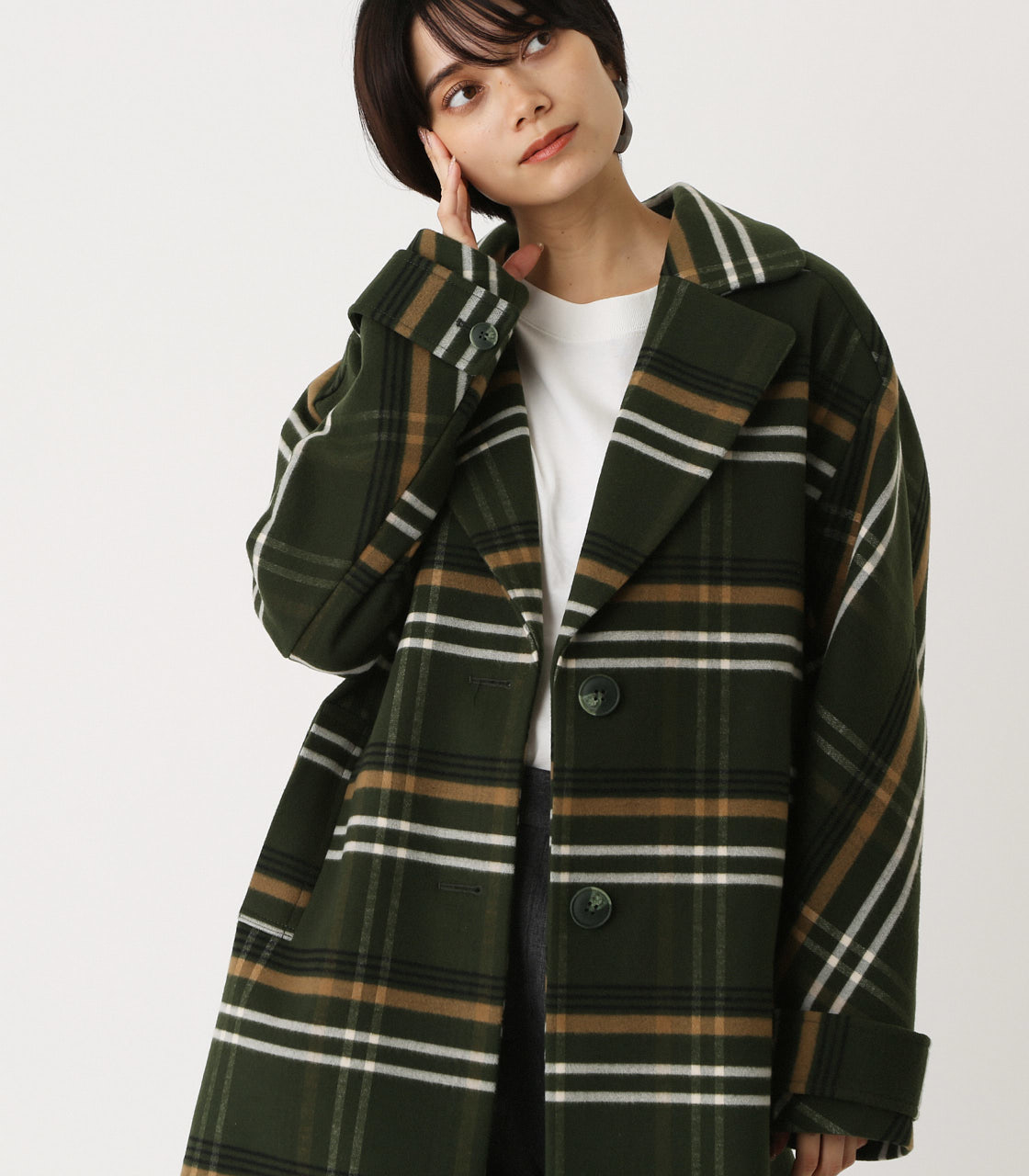 OVER LOOSE CHESTER COAT/オーバールーズチェスターコート 詳細画像 柄GRN 2