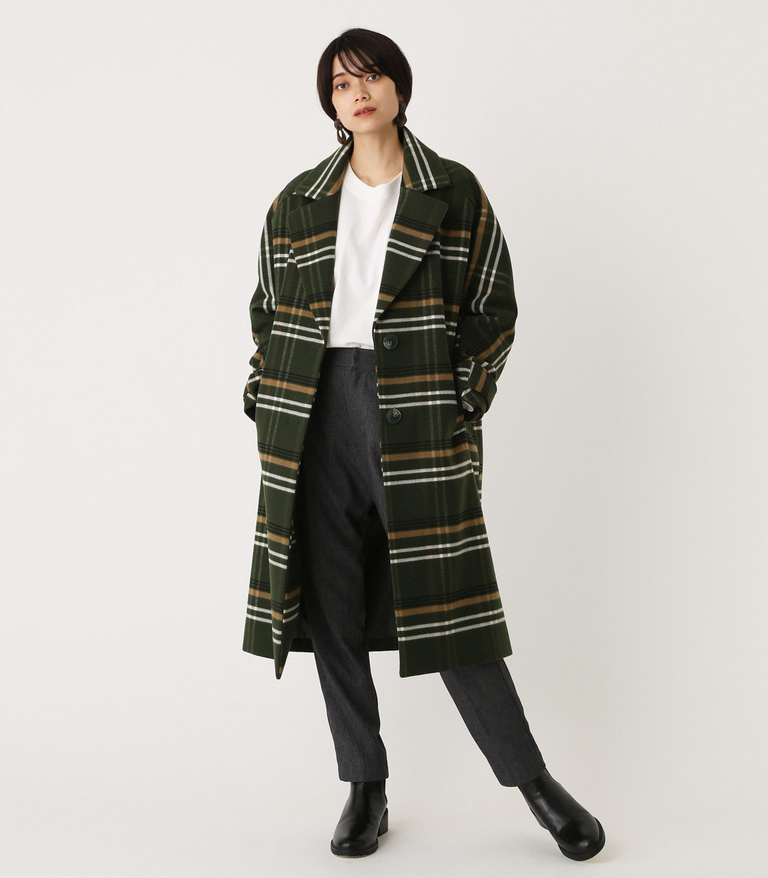 OVER LOOSE CHESTER COAT/オーバールーズチェスターコート 詳細画像 柄GRN 3