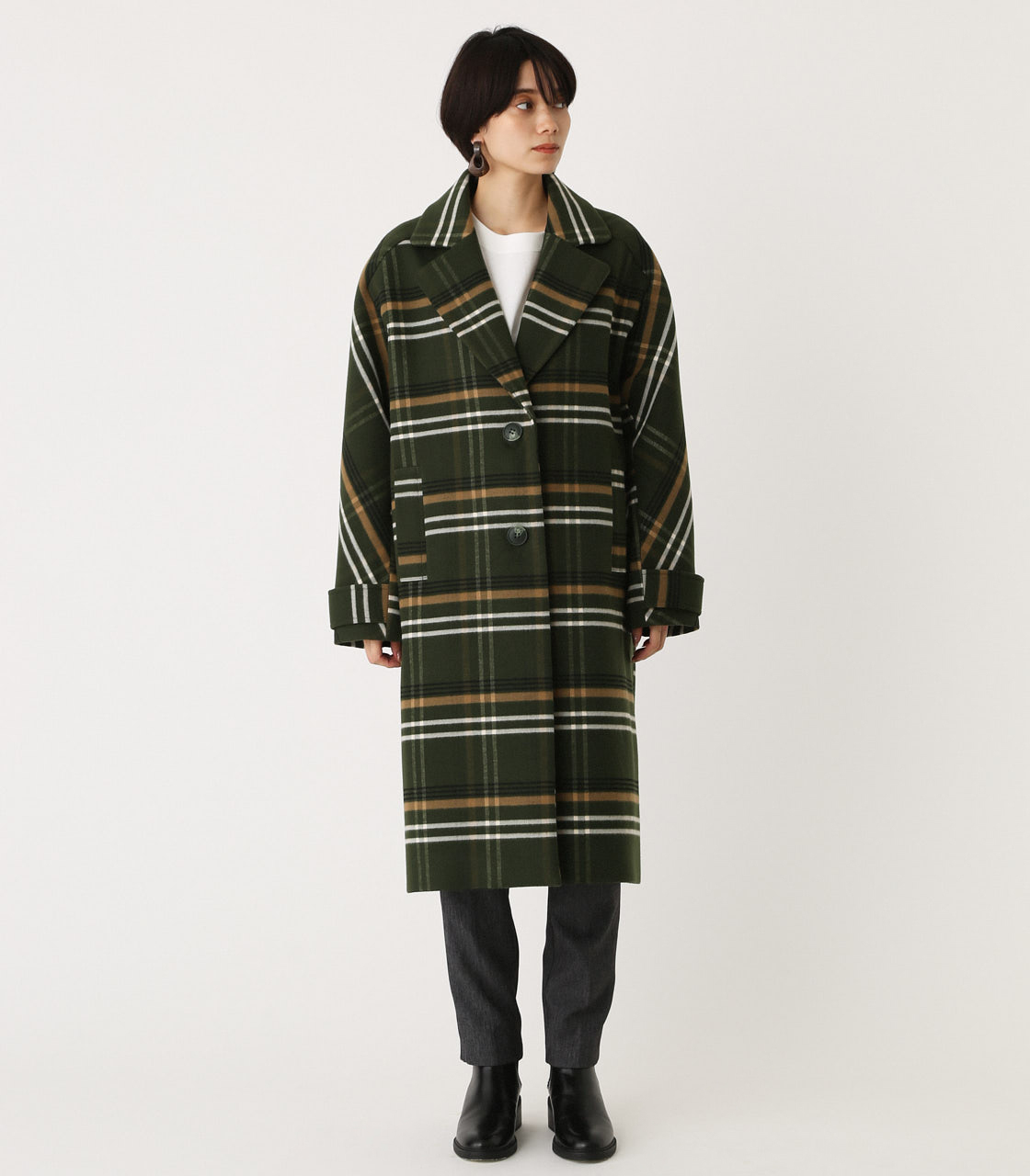 OVER LOOSE CHESTER COAT/オーバールーズチェスターコート 詳細画像 柄GRN 4