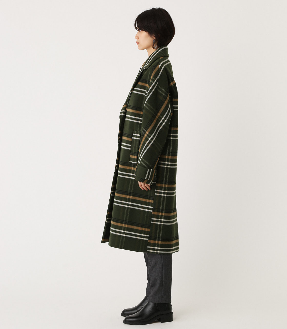 OVER LOOSE CHESTER COAT/オーバールーズチェスターコート 詳細画像 柄GRN 5
