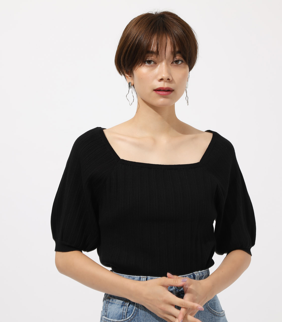 Puff sleeve knit tops/パフスリーブニットトップス 詳細画像 BLK 1