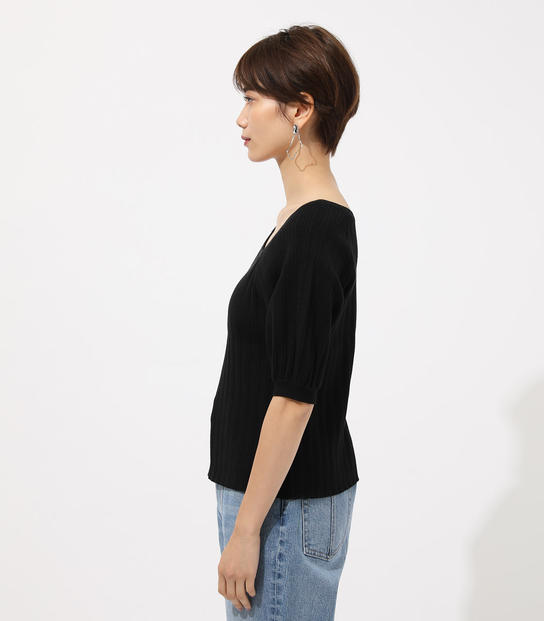 Puff sleeve knit tops/パフスリーブニットトップス 詳細画像 BLK 5