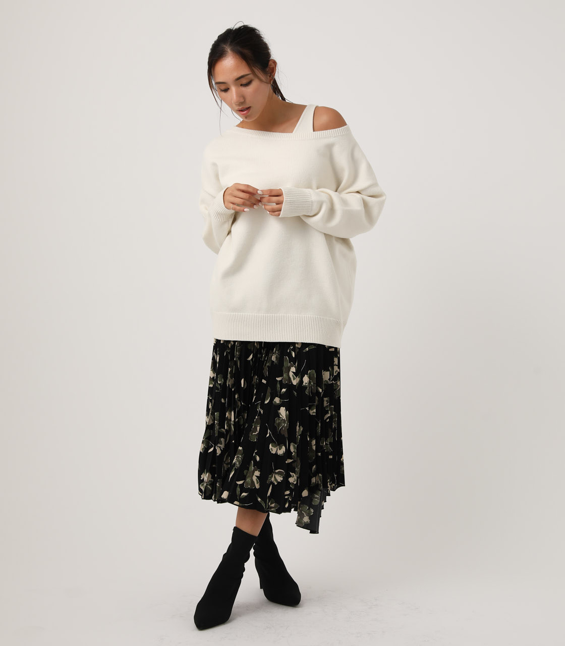 2WAY KNIT SET TOPS/2WAYニットセットトップス【MOOK#51掲載 90201】 詳細画像 O/WHT 3