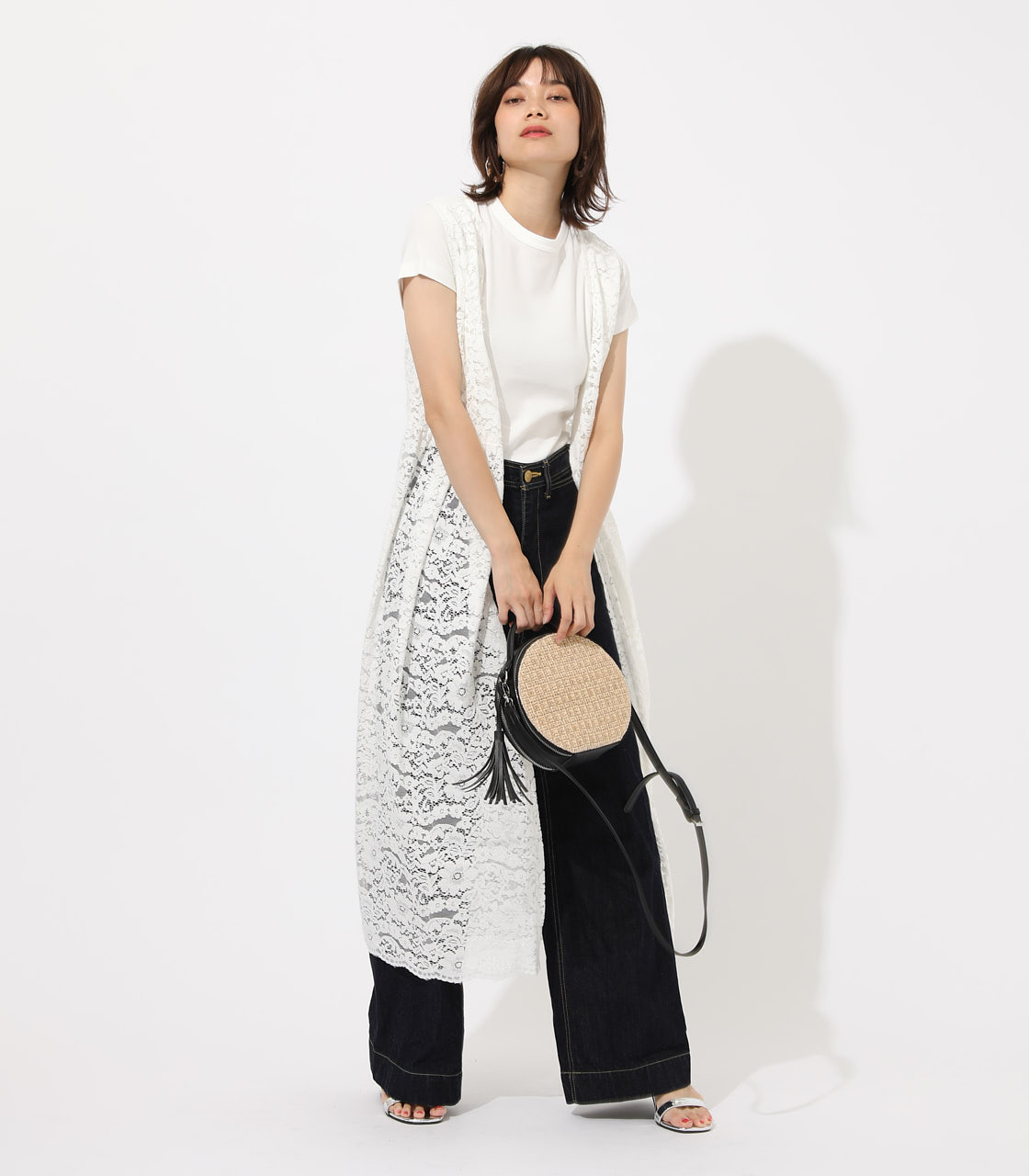 【AZUL BY MOUSSY】SCALLOP LACE GILET 詳細画像 O/WHT 1