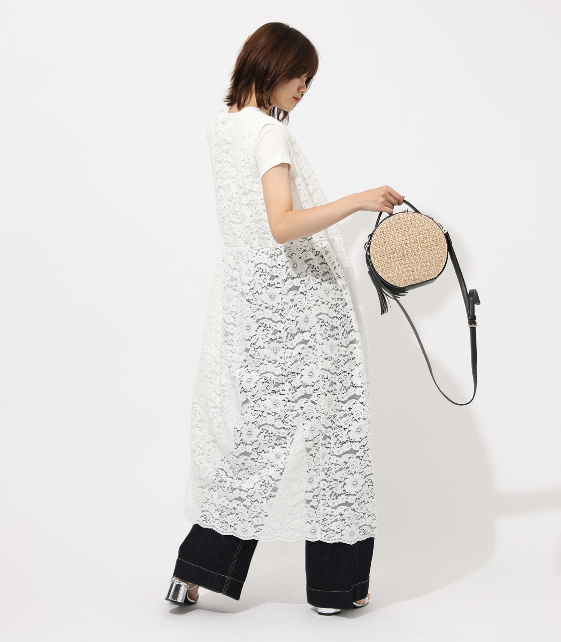 【AZUL BY MOUSSY】SCALLOP LACE GILET 詳細画像 O/WHT 2