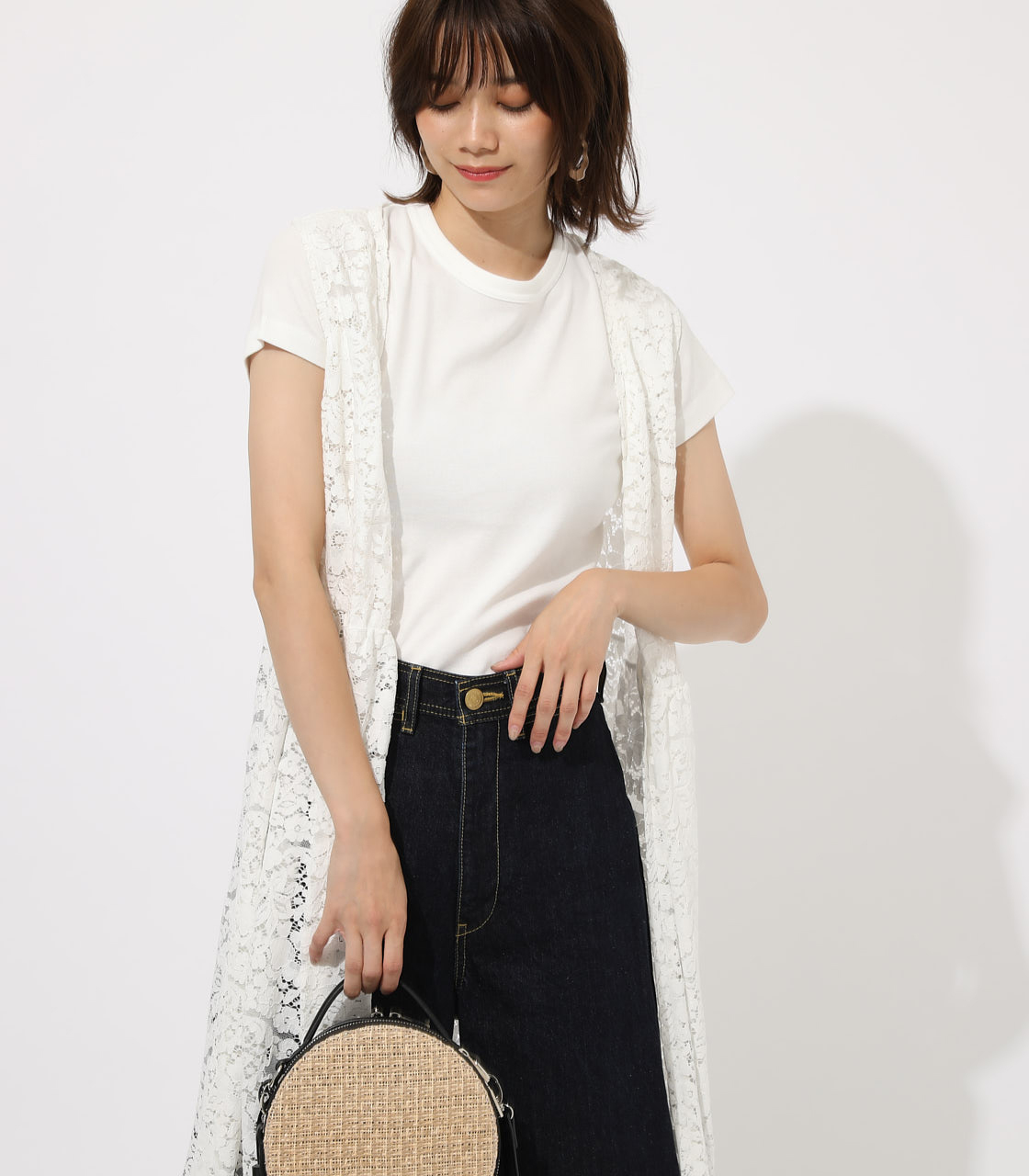 【AZUL BY MOUSSY】SCALLOP LACE GILET 詳細画像 O/WHT 3