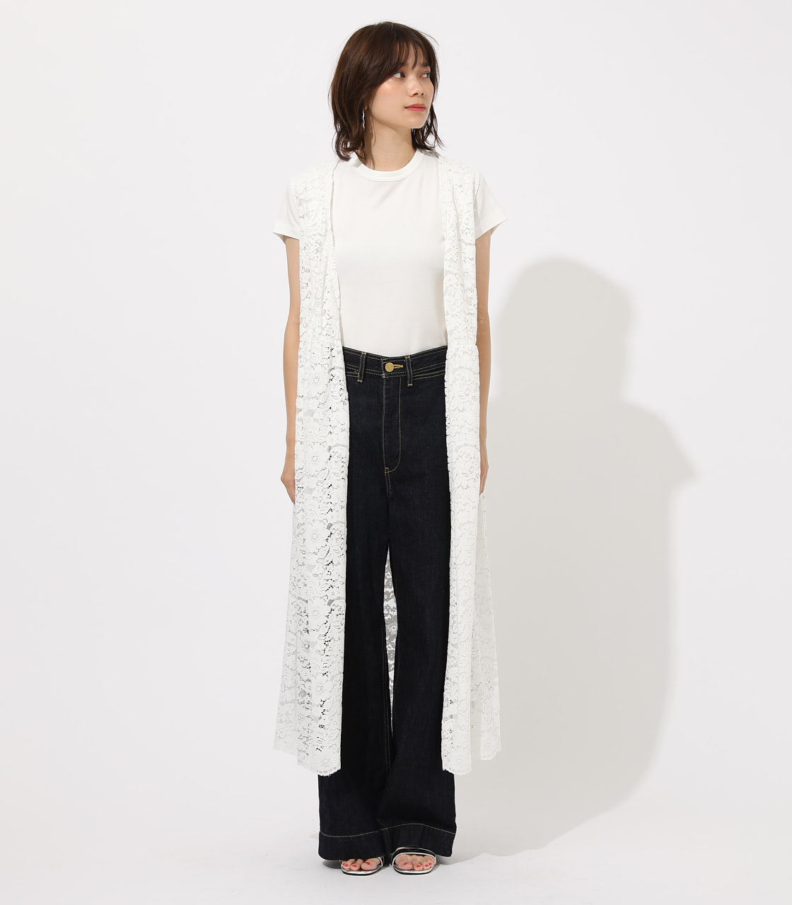 【AZUL BY MOUSSY】SCALLOP LACE GILET 詳細画像 O/WHT 4