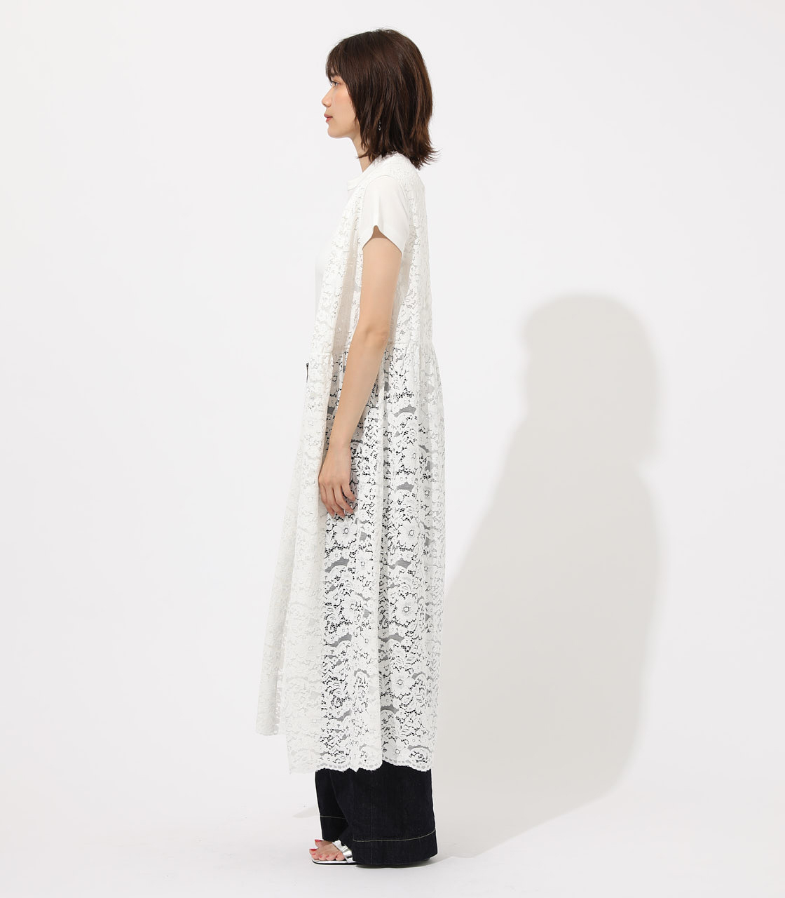 【AZUL BY MOUSSY】SCALLOP LACE GILET 詳細画像 O/WHT 5
