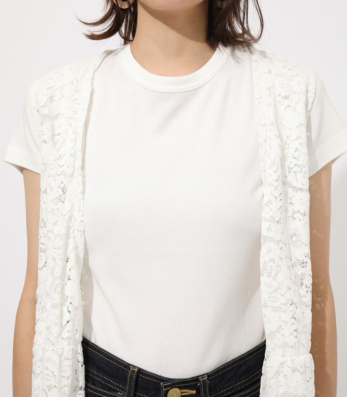 【AZUL BY MOUSSY】SCALLOP LACE GILET 詳細画像 O/WHT 7