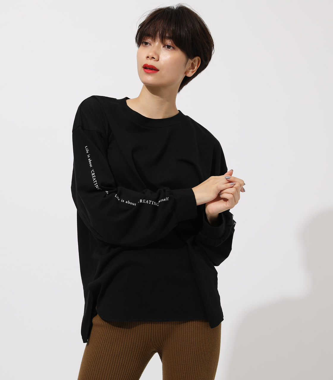 LONG SLEEVE LOOSE TOPS/ロングスリーブルーズトップス 詳細画像 BLK 1