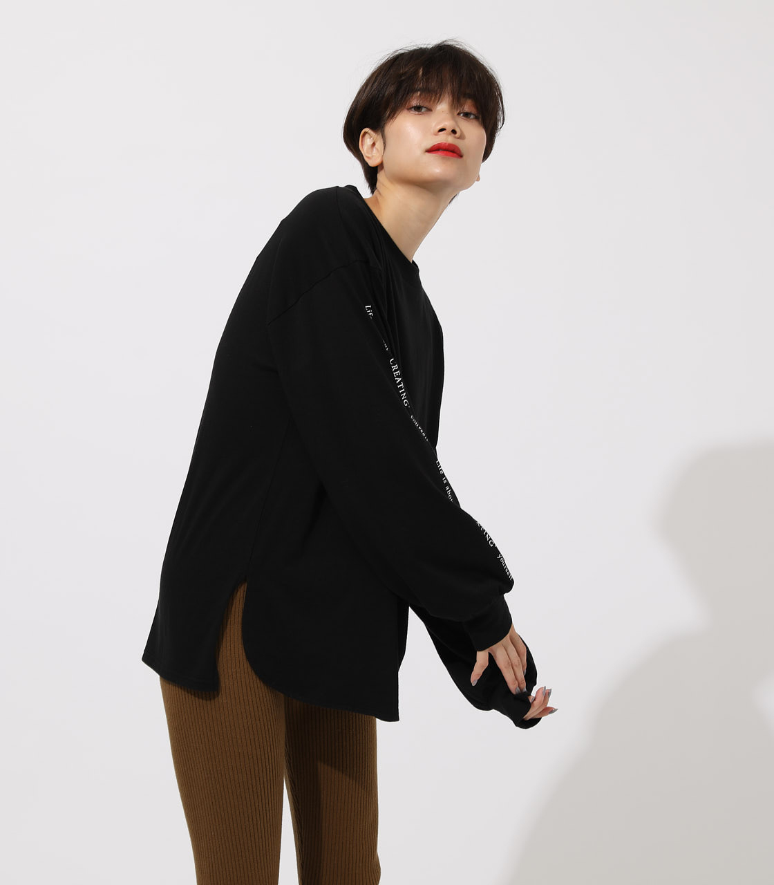 LONG SLEEVE LOOSE TOPS/ロングスリーブルーズトップス 詳細画像 BLK 2