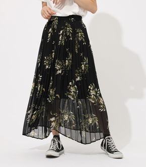 FLOWER ASYMMETRY PLEATS SKIRT