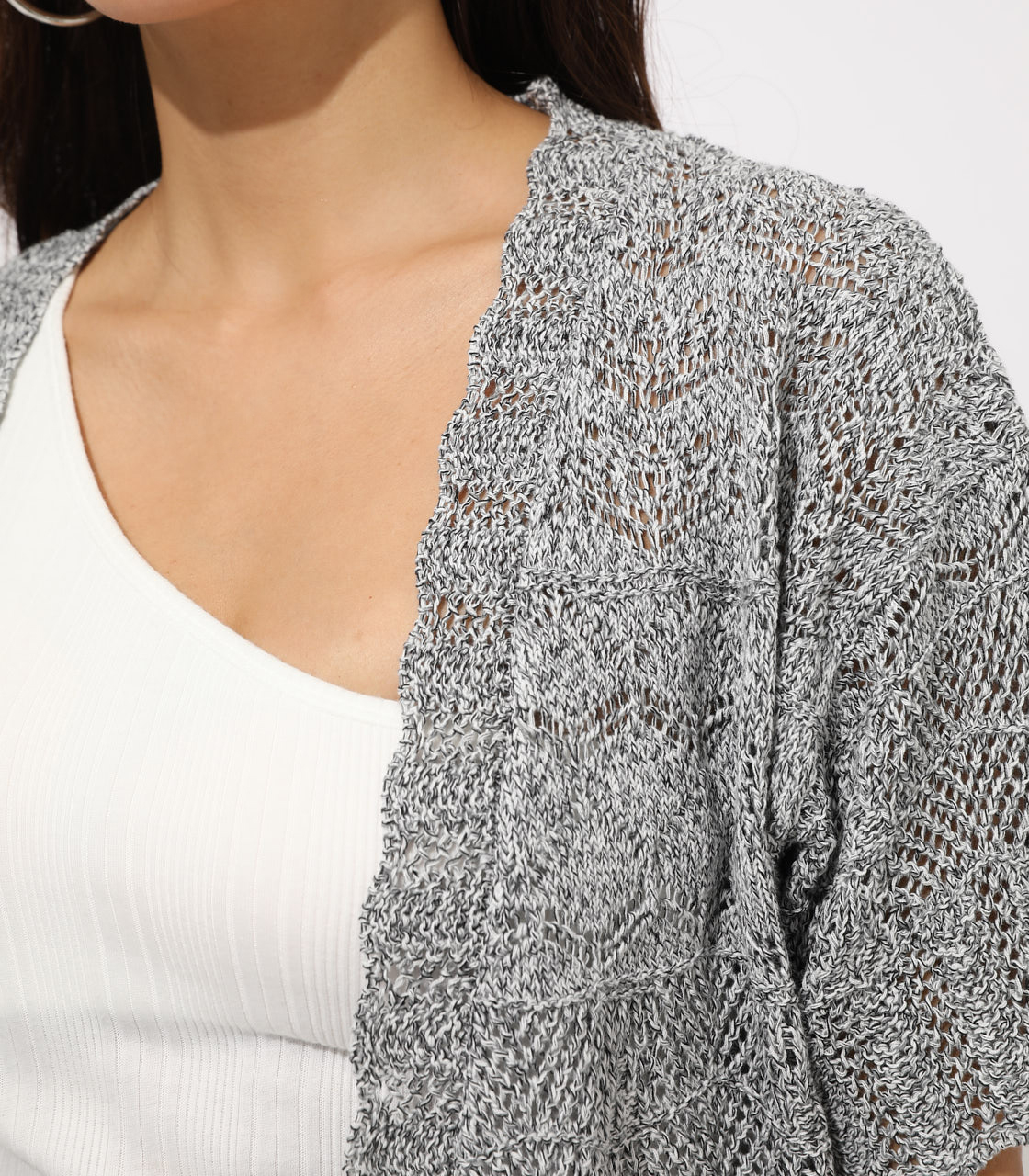 【AZUL BY MOUSSY】CROCHET STYLE CARDIGAN 詳細画像 柄BLK 7