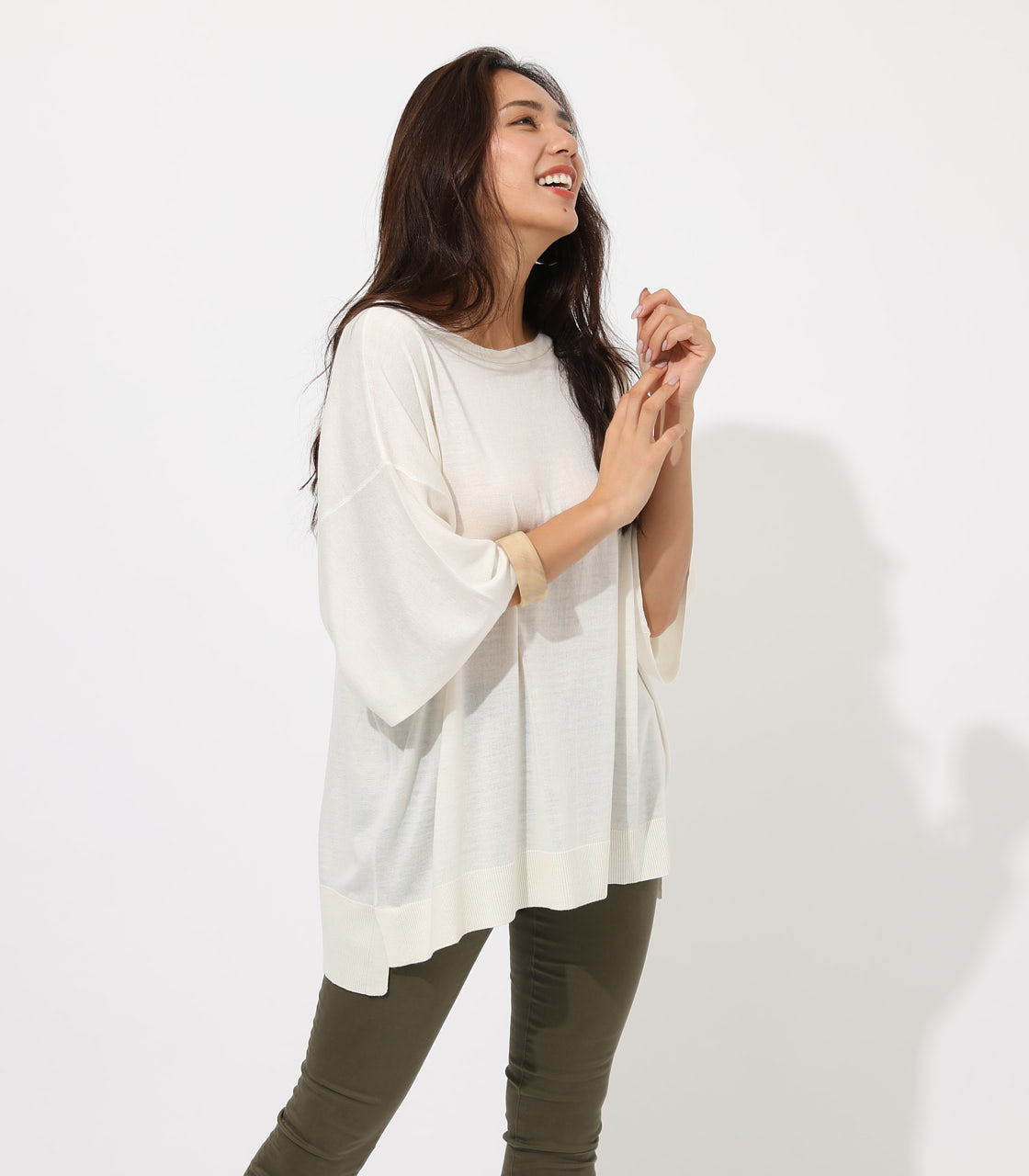 【AZUL BY MOUSSY】SQUARE LOOSE KNIT TOPS 詳細画像 O/WHT 2