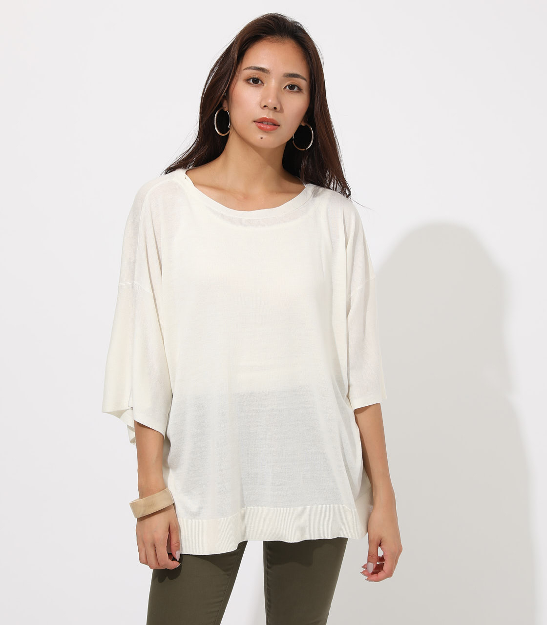【AZUL BY MOUSSY】SQUARE LOOSE KNIT TOPS 詳細画像 O/WHT 4