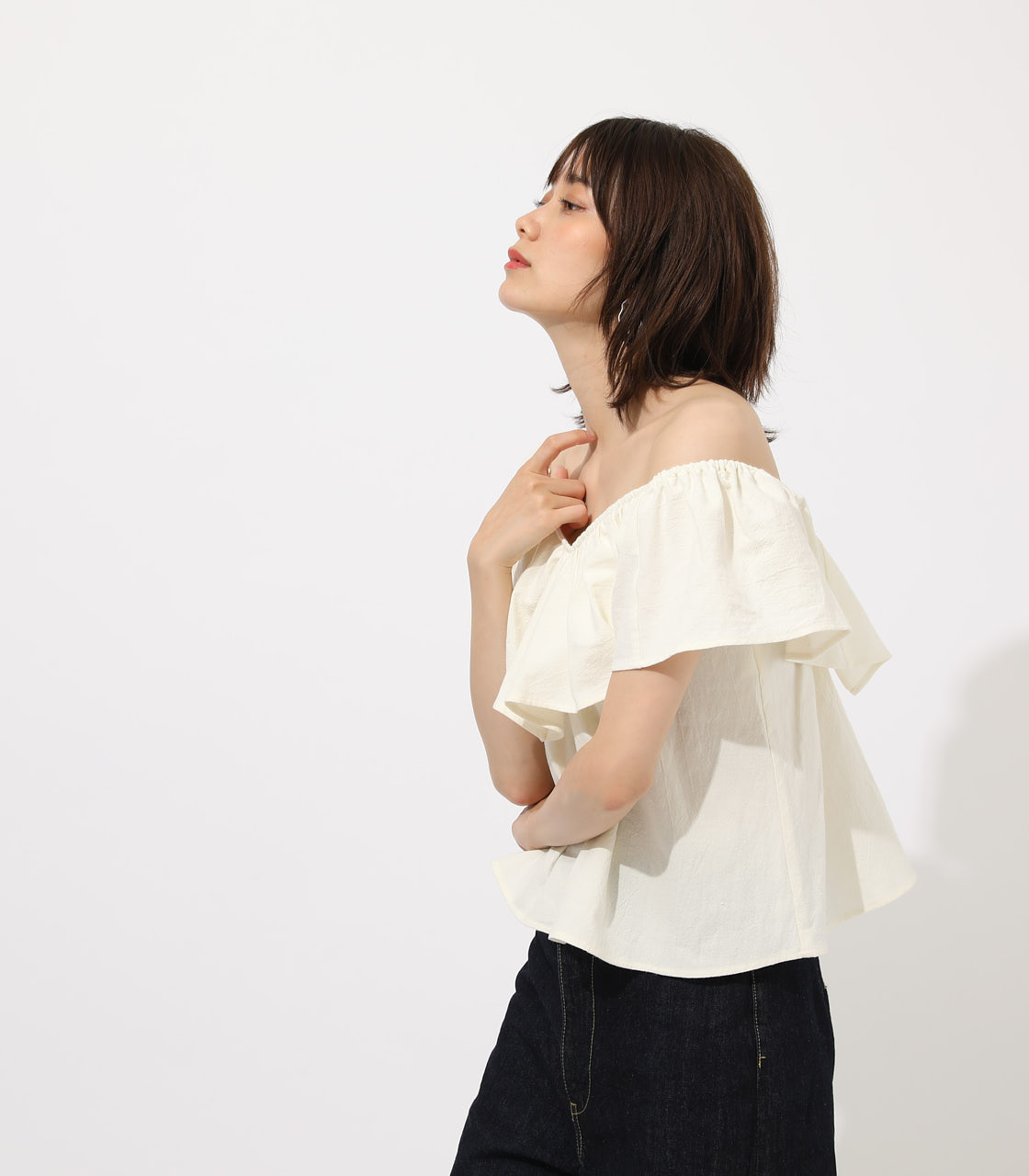【AZUL BY MOUSSY】RUFFLE 2WAY BLOUSE 詳細画像 O/WHT 2
