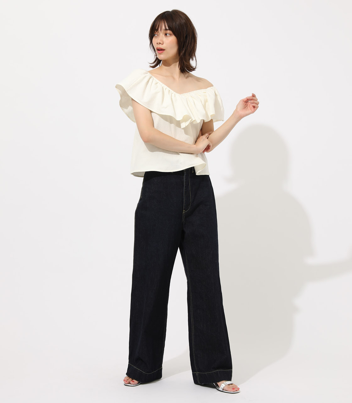 【AZUL BY MOUSSY】RUFFLE 2WAY BLOUSE 詳細画像 O/WHT 3