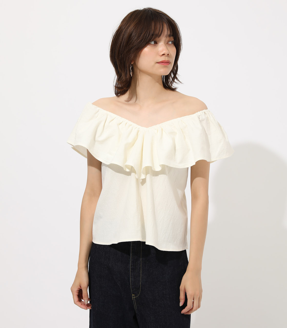 【AZUL BY MOUSSY】RUFFLE 2WAY BLOUSE 詳細画像 O/WHT 4