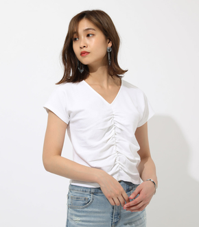 【AZUL BY MOUSSY】FRONT SHIRRING SHORT TOPS