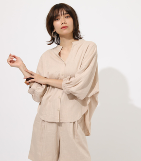 【AZUL BY MOUSSY】COTTONLINEN PUFF BLOUSE