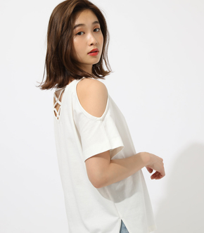 【AZUL BY MOUSSY】BACK LACE UP OPEN SHOULDER T