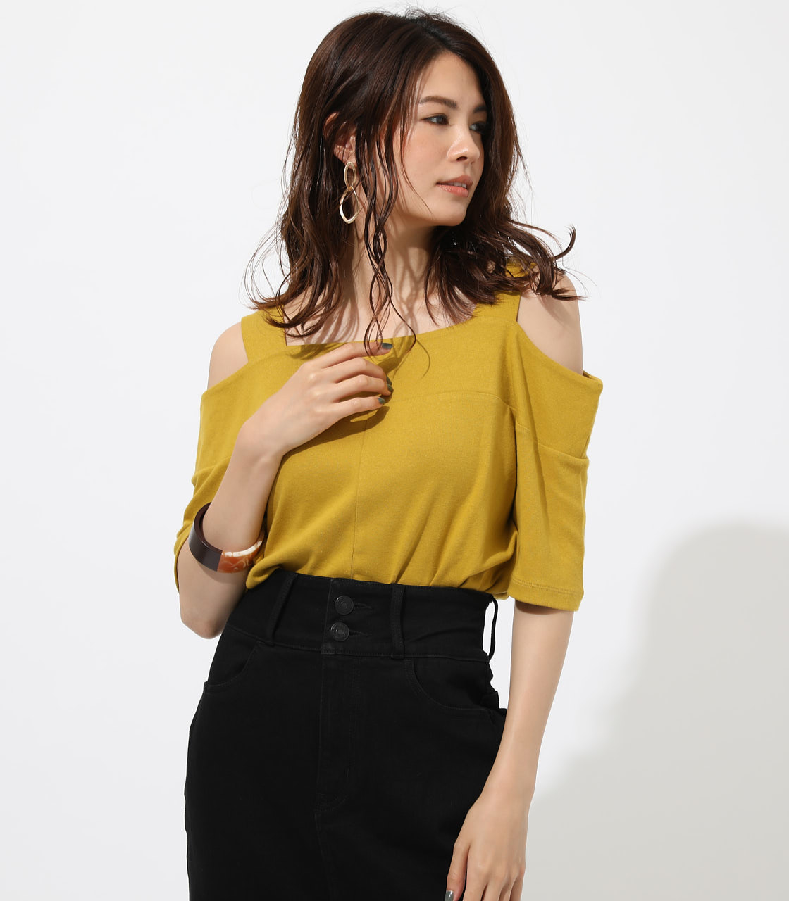 WIDE STRAP OPEN SHOULDER TOPS 詳細画像 D/YEL 1