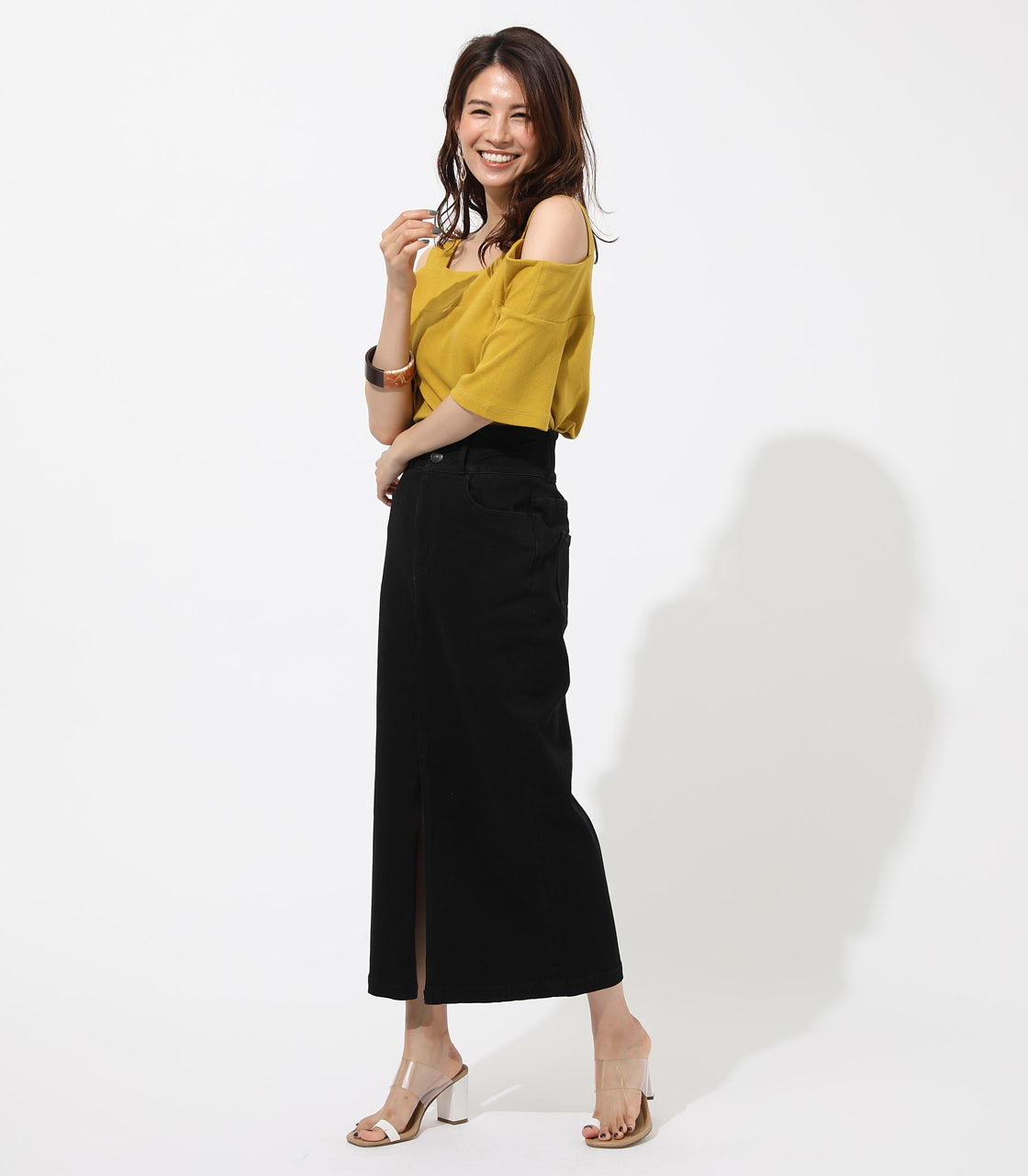 WIDE STRAP OPEN SHOULDER TOPS 詳細画像 D/YEL 3