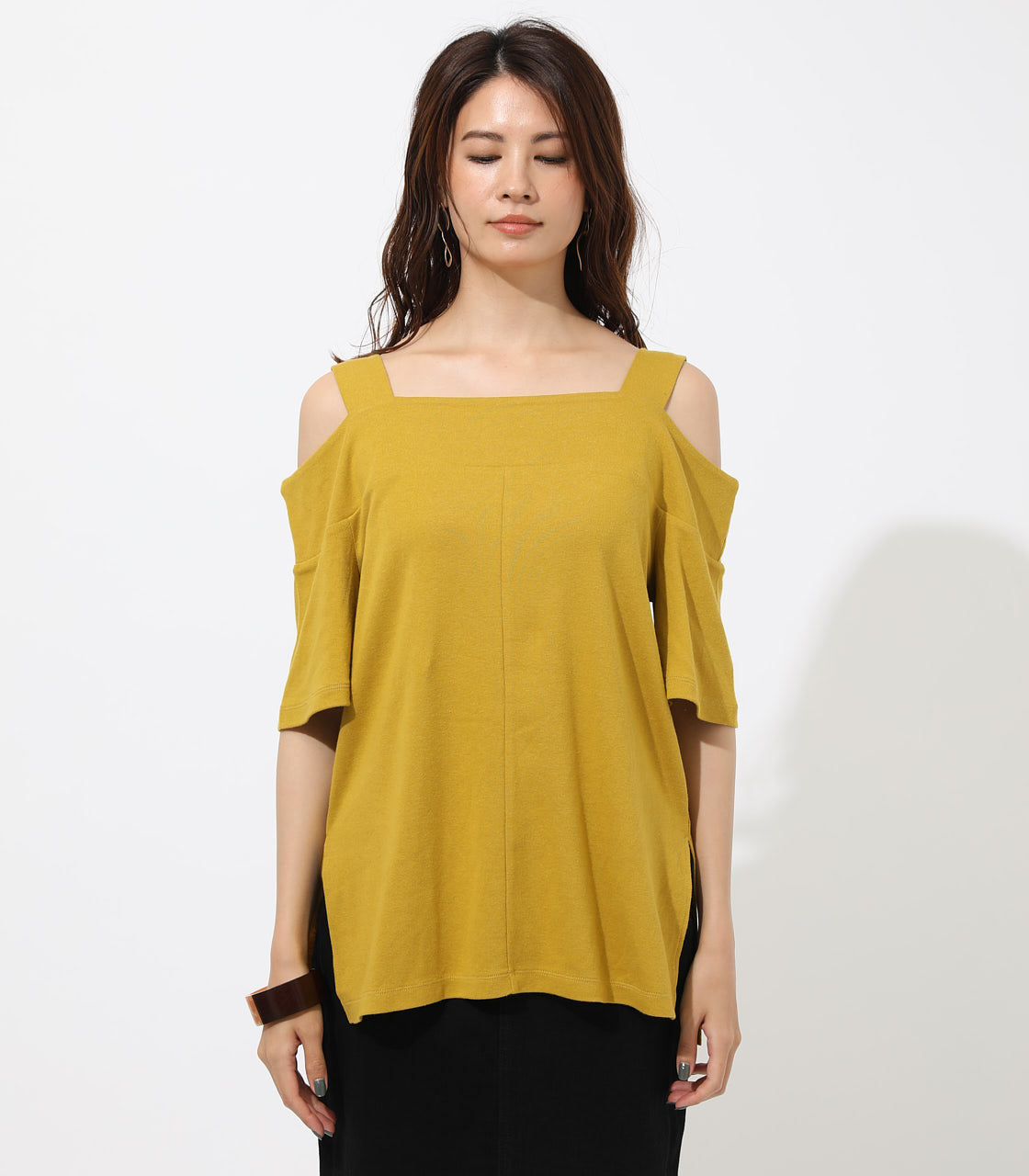 WIDE STRAP OPEN SHOULDER TOPS 詳細画像 D/YEL 4