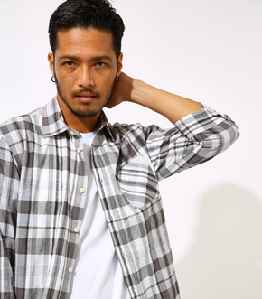 C/L COOLMAX CHECK 3/4 SHIRT