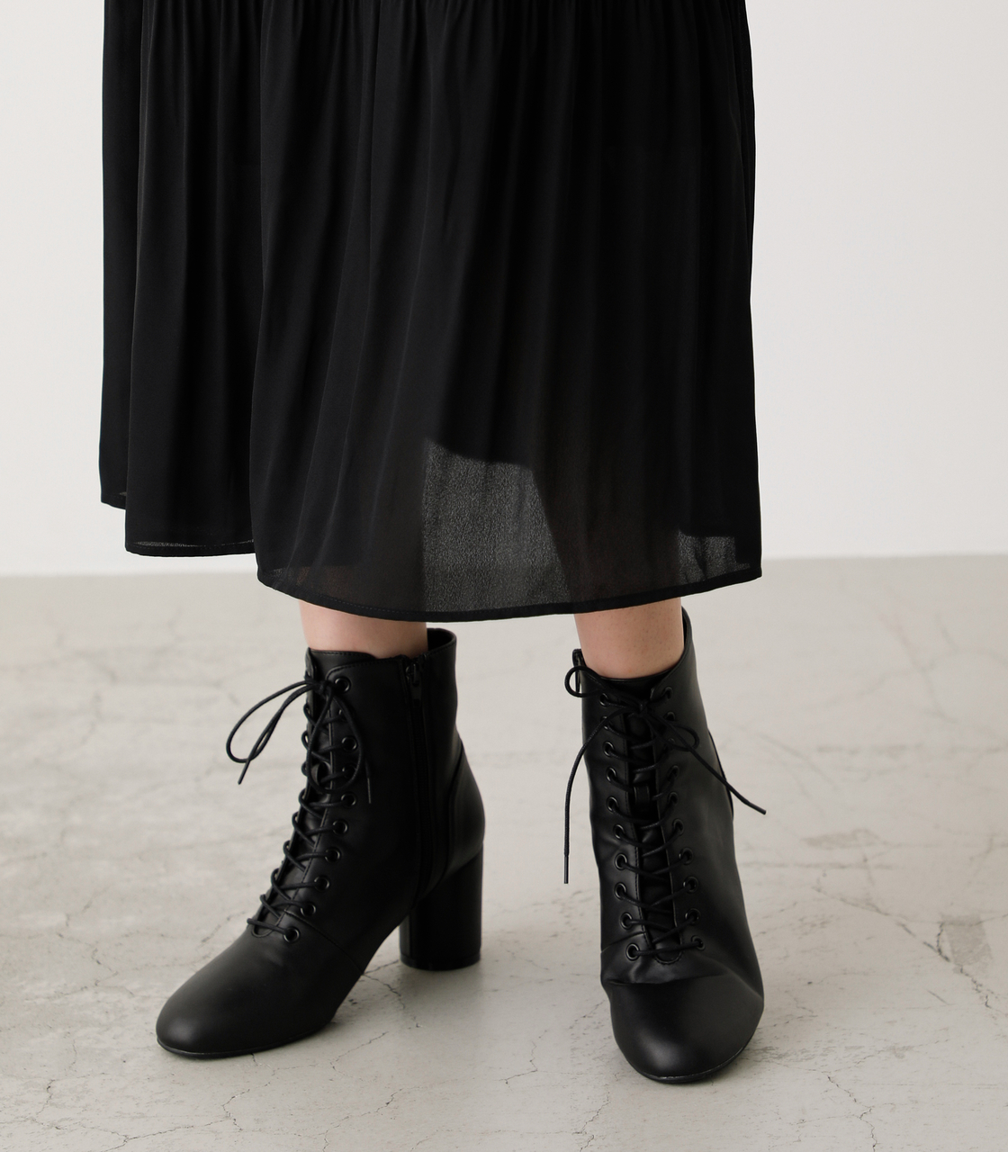 LACE UP HEEL BOOTS/レースアップヒールブーツ 詳細画像 BLK 8