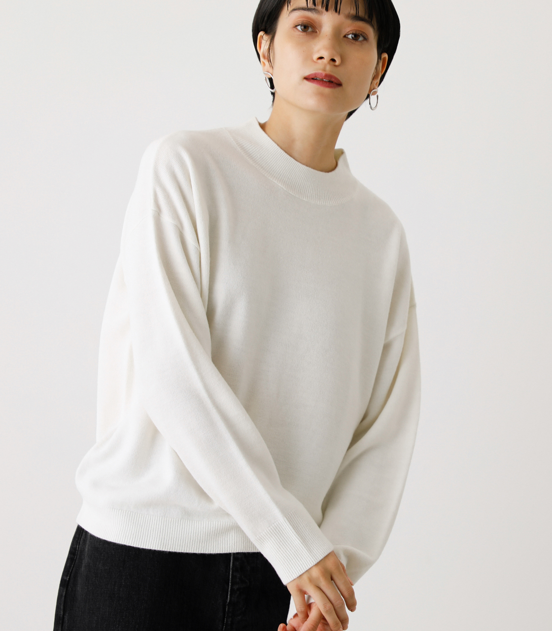 NUDIE H/N KNIT TOPS/ヌーディーハイネックニットトップス【MOOK53掲載 90022】 詳細画像 O/WHT 1
