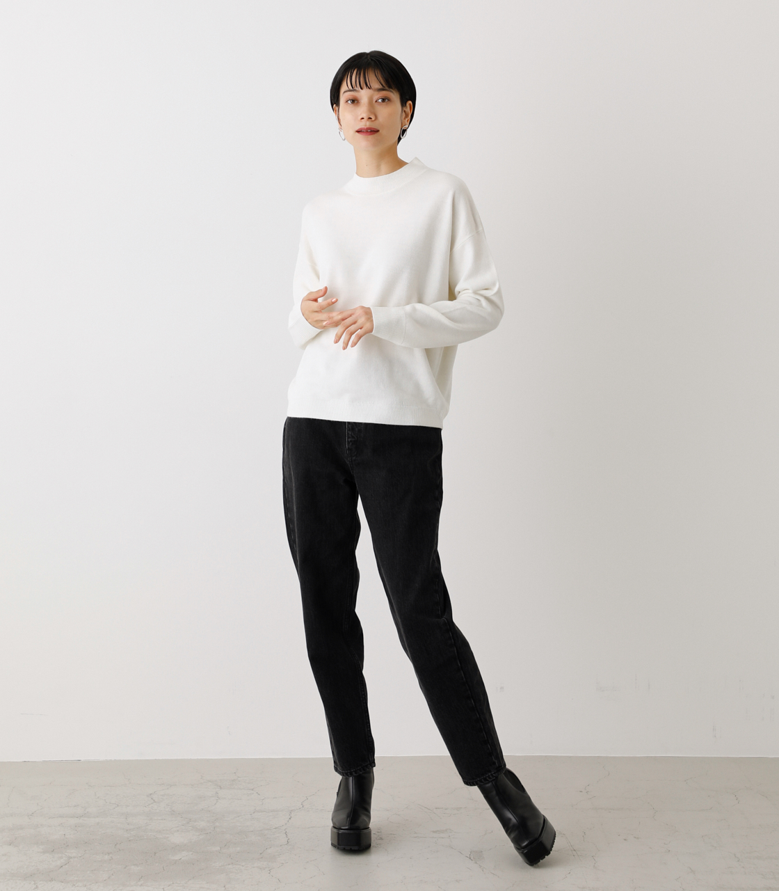 NUDIE H/N KNIT TOPS/ヌーディーハイネックニットトップス【MOOK53掲載 90022】 詳細画像 O/WHT 2