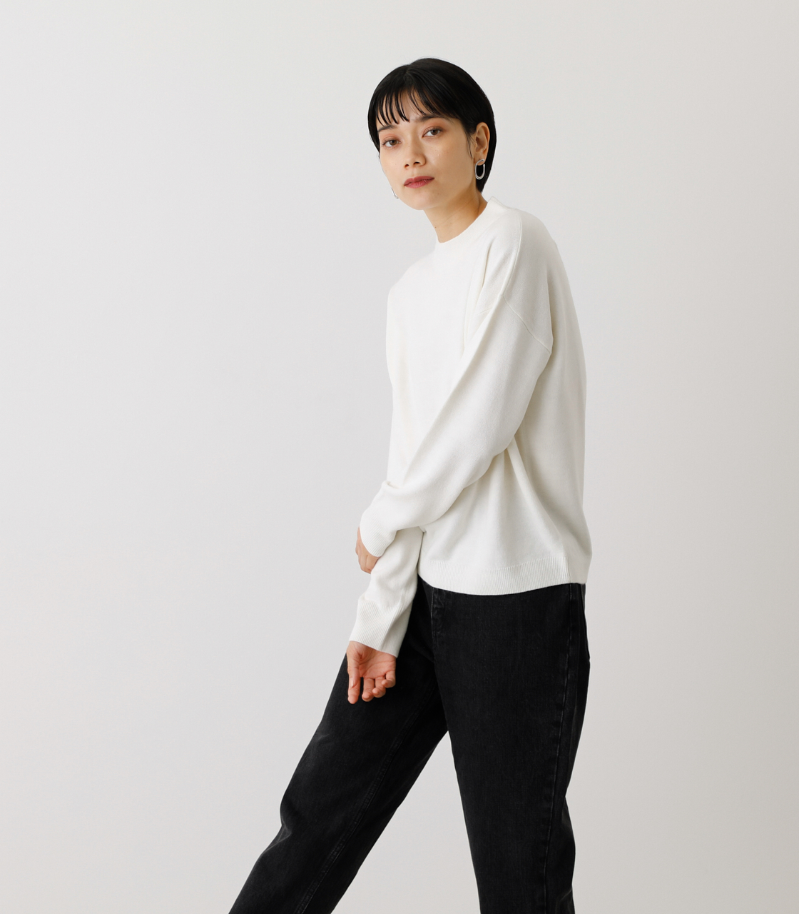 NUDIE H/N KNIT TOPS/ヌーディーハイネックニットトップス【MOOK53掲載 90022】 詳細画像 O/WHT 3