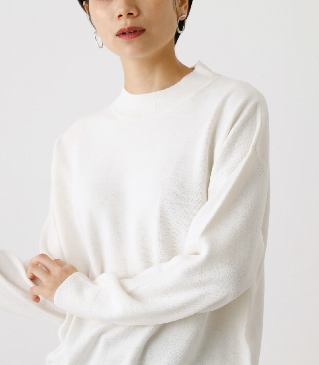 NUDIE H/N KNIT TOPS/ヌーディーハイネックニットトップス【MOOK53掲載 90022】 詳細画像 O/WHT 4