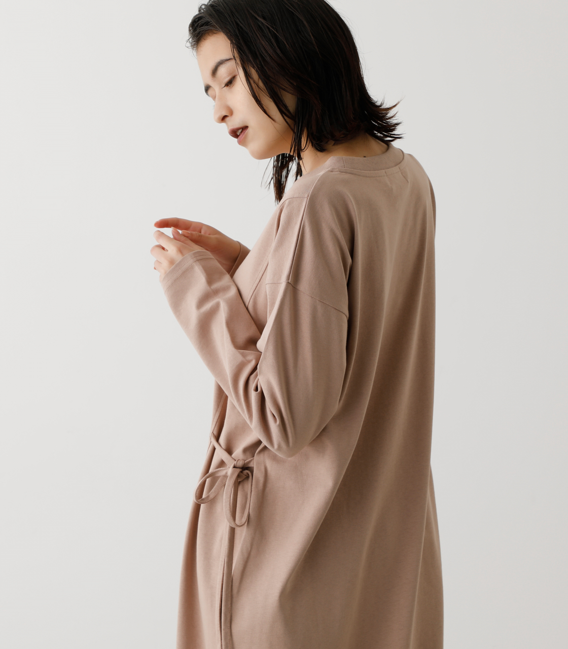 WAIST RIBBON SLIT LONG TOPS/ウエストリボンスリットロングトップス 詳細画像 BEG 3