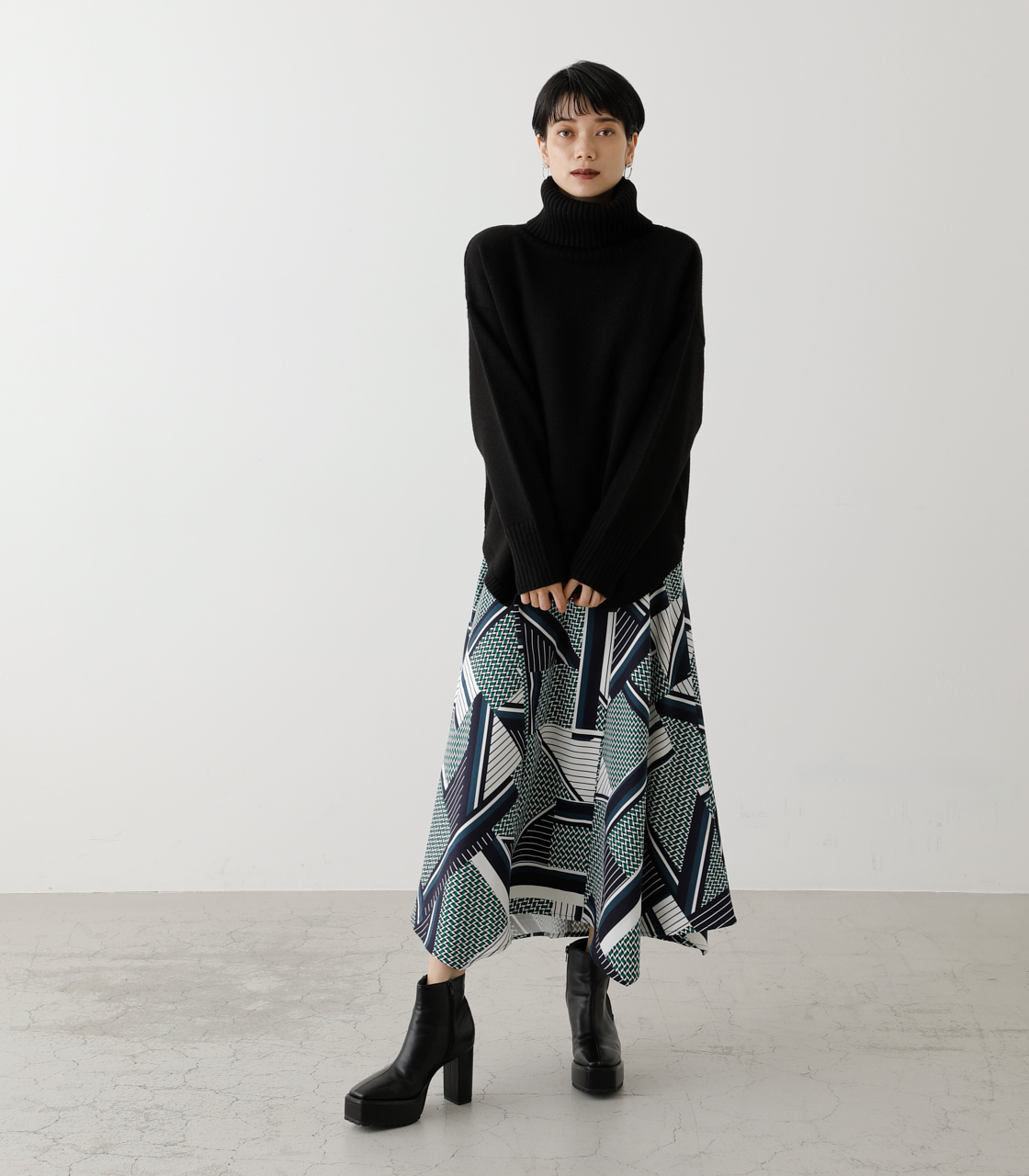 SCARF PATTERN SKIRT/スカーフパターンスカート 詳細画像 柄GRN 4